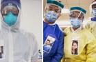 Deze verpleegkundigen dragen lachende fotobadges zodat patiënten weten wie er onder de maskers schuilgaan