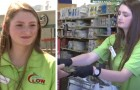 A young cashier at a supermarket pays for an elderly man's groceries who didn't have enough money