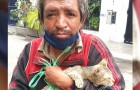This homeless man took in an abandoned cat, now they are inseparable