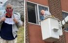En 88-årig man hyr en lyftkran för att kunna ge sin fru en kärleksförklaring genom ett fönster under den obligatoriska isoleringen