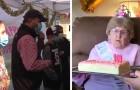 En kvinna fyller 109 år isolerad på ett ålderdomshem, hennes barn och barnbarn firar henne utifrån fönstret