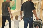 A mom photographs her husband and ex husband together while leaving the hospital together with their kids