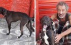 En hemlös man har inte råd att behålla sin hund och söker nu efter en ny familj till den