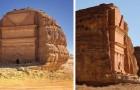 Qasr al-Farid, het oude graf uitgesneden in de rots die midden in de woestijn verschijnt