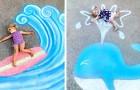 Una donna disegna scene da fiaba con i gessetti colorati: al loro interno le figlie