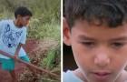 Hij is pas 10 jaar oud, maar werkt onvermoeibaar om zijn familie te onderhouden in de hoop een beter huis te bouwen