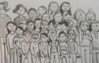 A casa in quarantena, un bambino ha nostalgia della scuola e disegna i suoi compagni di classe in posa per una