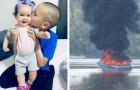 Een 7-jarige jongen redt het leven van zijn jongere nichtjes na een plotselinge explosie op de boot