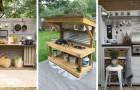 13 fascinants projets DIY pour créer des cuisines de jardin construites avec du bois de récupération