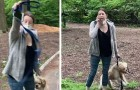 He asks her to put her dog on a leash, she calls the police: