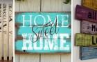 12 spunti fantasiosi per creare delle insegne decorative con il legno riciclato