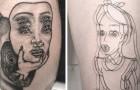 Dieses Mädchen ist darauf spezialisiert, auffällige Tätowierungen mit einem psychedelischen