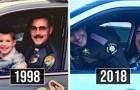 Padre e hijo recrean la misma foto a distancia de 20 años: los años pasan pero el afecto siempre es el mismo