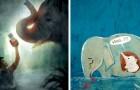 Artiesten van over de hele wereld brengen hulde aan de zwangere olifant die is gedood na het eten van een ananas gevuld met vuurwerk
