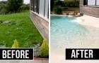 Ein Unternehmen baut Schwimmbäder mit echten Sandstränden: die perfekte Lösung, um den Urlaub zu Hause zu verbringen