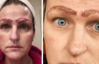 A woman's microblading permanent eyebrow tattoo procedure leaves her with four eyebrows