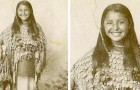 Deze foto uit 1894 toont een oorspronkelijke bewoonster van Amerika met een mooie glimlach: een zeldzaamheid voor foto's uit die tijd