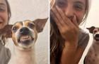 La voluntaria de un refugio se saca una foto con el perro: él