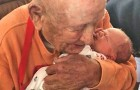 The 105-year-old great-grandfather who embraces his newborn grandchild in a splendid affectionate scene