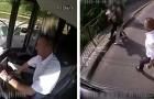 O motorista de um ônibus vê um homem que está roubando uma mulher idosa: ele para o veículo e manda o ladrão embora