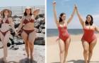 2 Freundinnen mit unterschiedlichem Körperbau fotografieren sich im gleichen Bikini und beweisen, dass Schönheit keine Maße kennt