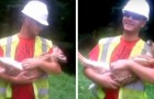 A man saves a fawn in the woods: every time he stops stroking it's belly, it