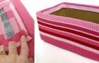 Il metodo semplicissimo per trasformare una semplice scatola di cartone in un fantastico cestino portaoggetti