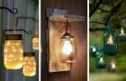 10 soluzioni ingegnose per riciclare i barattoli di vetro trasformandoli in fantastiche luci da giardino