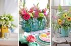 10 trovate incantevoli per realizzare con le vostre mani dei centrotavola fioriti riciclando oggetti comuni