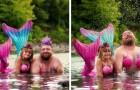 Uma menina pede ao pai para se vestir de sereia no aniversário dela: ele aceita e as fotos são memoráveis
