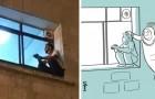 Er klettert jeden Tag zum Fenster des Krankenhauses, um in der Nähe seiner Mutter zu sein: Ein Künstler widmet ihm eine Zeichnung