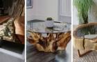 9 spunti creativi per realizzare fantastici mobili con tronchi di legno abbinati a vetro o resina