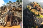 Sigiriya, het fort gebouwd op een enorme vulkanische steen, wordt beschouwd als het achtste wereldwonder
