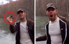 This guy skips a rock on a frozen lake: what happens will leaves you speechless !!