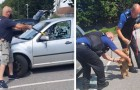 Man sees a dog trapped in a vehicle in scorching temperatures: he rescues the dog by breaking the car window open