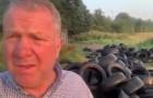 Er worden 's nachts tientallen autobanden op zijn terrein gedumpt: hij vindt de dader en gooit ze voor zijn huis neer