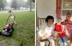Ein achtjähriger Junge hilft dabei, die Rasen der ältesten Menschen zu mähen, und sammelt Essen für Bedürftige