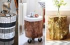 11 strepitose proposte per arredare la casa con tavolini ricavati da tronchi di legno