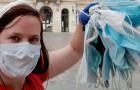 Cette femme se rend au travail à pied en ramassant chaque fois les masques qu'elle trouve dans les alentours : elle en a ramassé des centaines