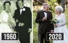 Le mari et la femme célèbrent leurs 60 ans de ménage en portant les mêmes vêtements que pour leur mariage