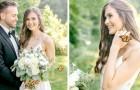 Tijdens de fotoshoot voegt zich een prachtige vlinder bij het bruidspaar: de foto's lijken uit een sprookje te komen