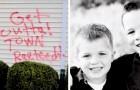 Twee kinderen nemen het op voor hun geadopteerde zusjes met Down nadat buren de muren van hun huis met woorden van haat besmeurd hebben