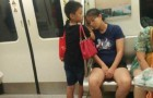 Tired mom falls asleep on the train: her child puts his hands under her head to act as a pillow