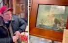 Er findet heraus, dass der Obdachlose ihm ein wertvolles Gemälde verkauft Es stellt sich heraus, dass der Obdachlose ihm ein wertvolles Gemälde verkauft hat: Er sucht ihn auf, um es wiedergutzumachen