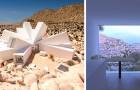 Een man ontwerpt een enorm huis van containers midden in de woestijn: de vorm lijkt op die van een bloem