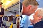 Prende l'aereo senza sapere che il pilota è suo figlio: quando lui esce dalla cabina lei non trattiene l'emozione
