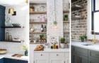 10 combinazioni irresistibili per arricchire la cucina con pareti di mattoni bianchi a vista