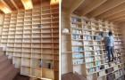 Deze klimboekenkast is ideaal voor iedereen die zijn huis wil vullen met boeken tot aan het plafond