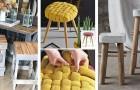 10 ottimi spunti per creare o rinnovare il look di vecchi sgabelli con tanti materiali diversi