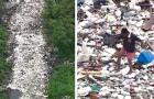 Un uomo cammina da una parte all'altra di un fiume coperto di rifiuti: le immagini fanno male